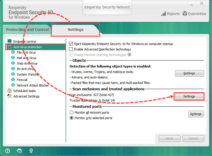 Going to the trusted zone settings in Kaspersky Endpoint Security 10 for Windows