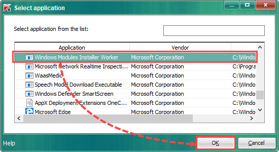 Selecting a trusted application in Kaspersky Endpoint Security 10 for Windows