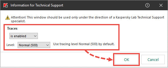 Adjusting tracing in Kaspersky Endpoint Security 11.x for Windows