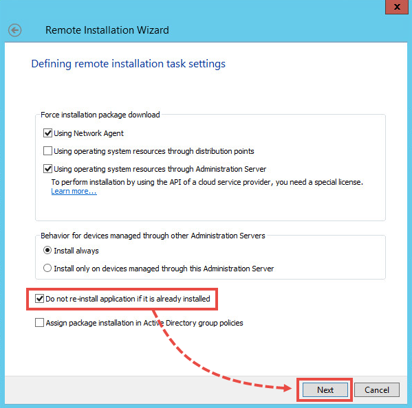 Defining the remote installation settings for a patch in Kaspersky Security Center 11