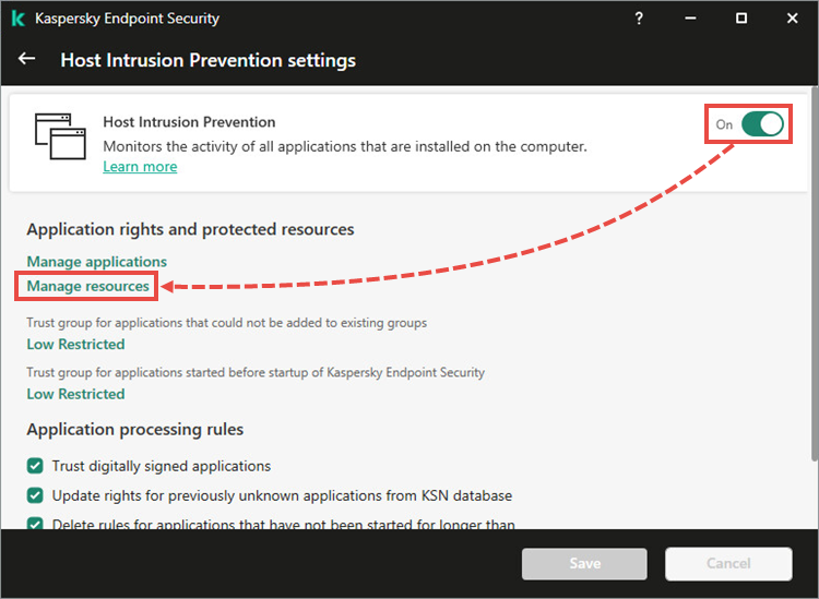 The settings menu in the local interface of Kaspersky Endpoint Security 11