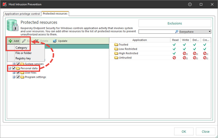 Host Intrusion Prevention settings in Kaspersky Endpoint Security 11 for Windows