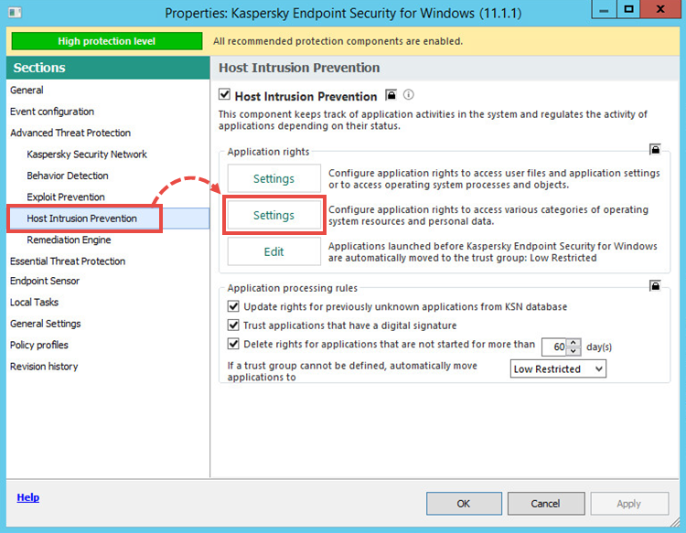 Opening Host Intrusion Prevention settings in Kaspersky Security Center 10