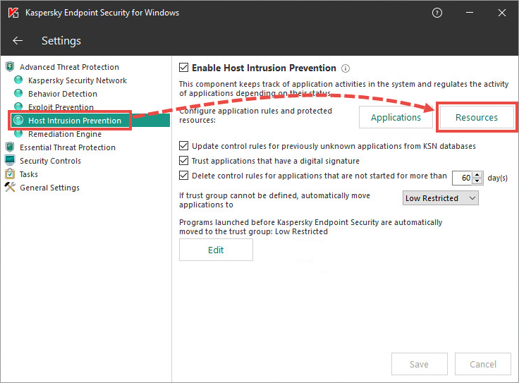 The settings menu in Kaspersky Endpoint Security 11