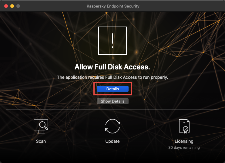 Opening the detailed information about full disk access request