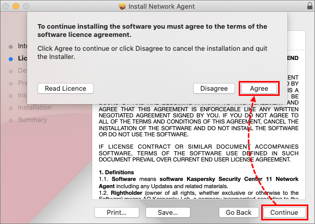 Accepting the license agreement of Network Agent in Kaspersky Endpoint Security 11 for Mac