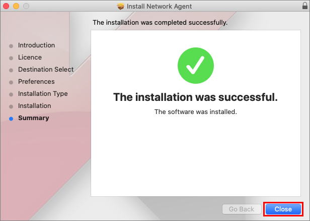 Completing the installation of the Network Agent in Kaspersky Endpoint Security 11 for Mac.