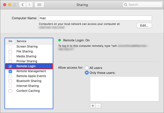 Enabling remote login.
