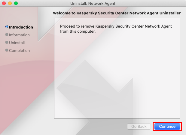 Starting the removal of the Network Agent in Kaspersky Endpoint Security 11 for Mac.