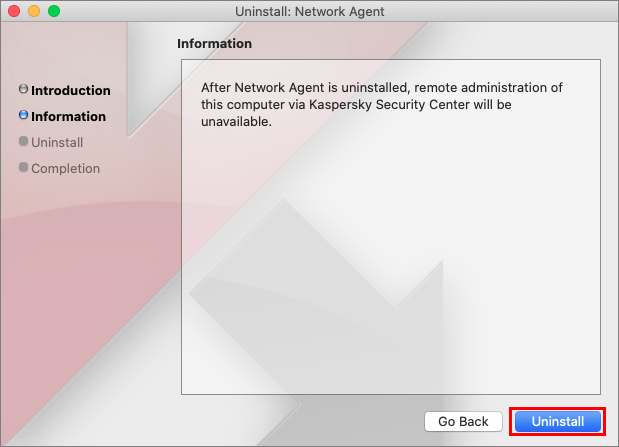 Removal of Network Agent in Kaspersky Endpoint Security 11 for Mac