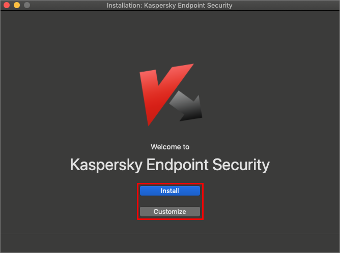 Selecting the installation mode for Kaspersky Endpoint Security 11 for Mac