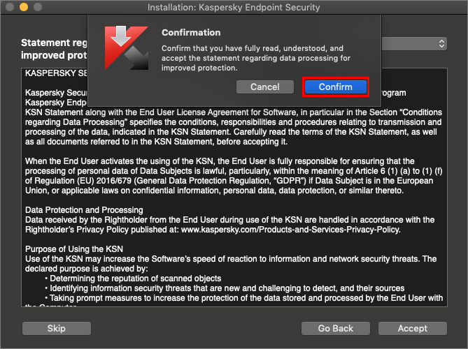 Confirming acceptance of the Kaspersky Security Network Statement