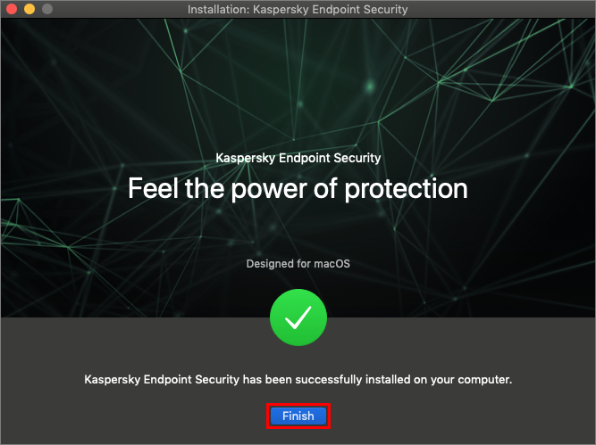 Completing the installation of Kaspersky Endpoint Security 11 for Mac