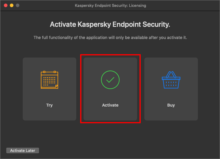 Selecting the activation method for Kaspersky Endpoint Security 11 for Mac