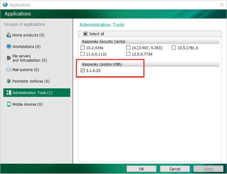 Kaspersky Update Utility selected in the Administration Tools view