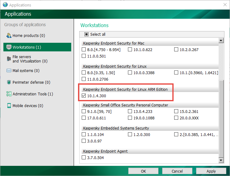 Kaspersky Endpoint Security for Linux ARM edition selected in the Workstations view