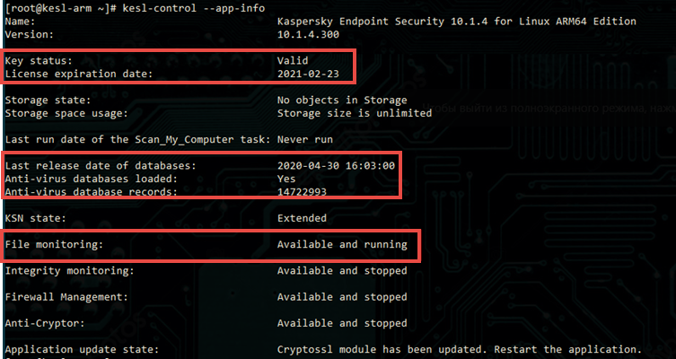 Kaspersky Endpoint Security for Linux ARM edition parameters displayed after running the command
