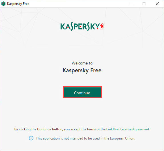 Agreeing to the End User License Agreement when installing Kaspersky Free 20