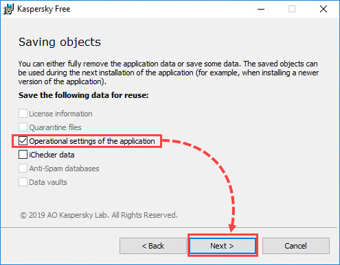 Selecting data to be saved after removing Kaspersky Free