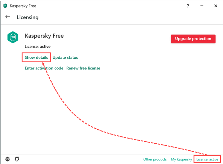 The licensing window in Kaspersky Fre