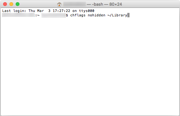 Screenshot: enter this command to unhide a hidden folder in the Library