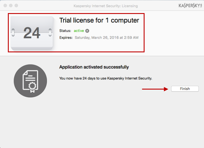 The trial version of Kaspersky Internet Security 16 for Mac has been activated.
