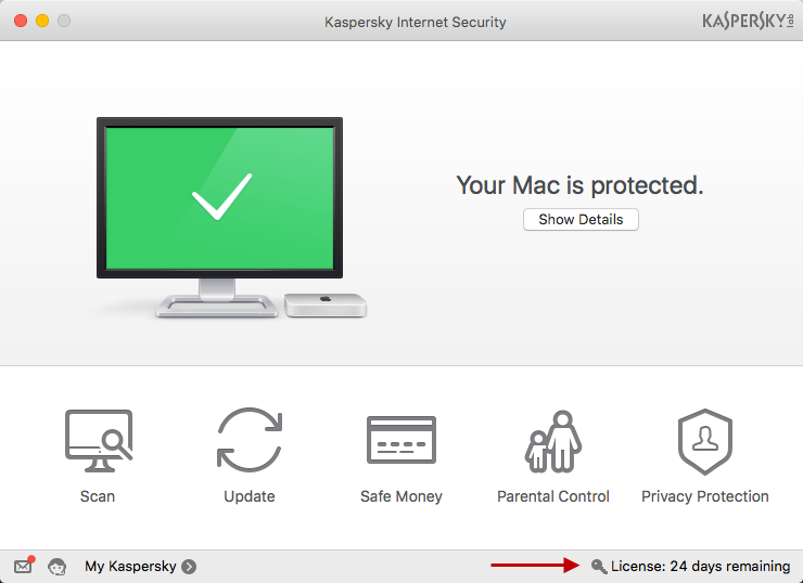 To use the full version of Kaspersky Internet Security 16 for Mac, click License in the main window