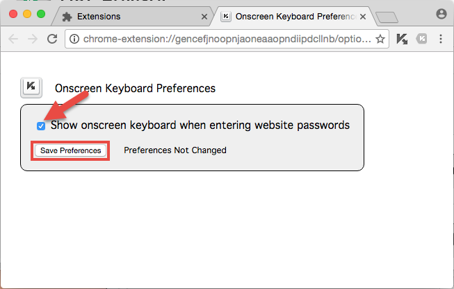 Image: show onscreen keyboard on password field selection automatically in Google Chrome