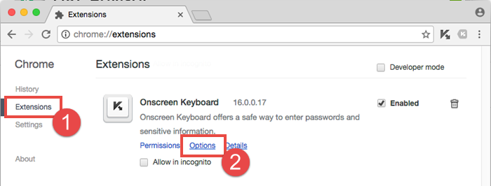 Image: how to show virtual keyboard on password field selection automatically in Google Chrome