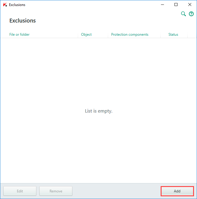 Image:  the Exclusions window of Kaspersky Internet Security 2018