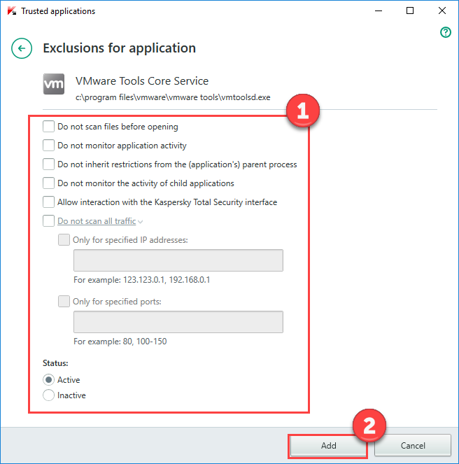 Image: Exclusions for applications window in Kaspersky Internet Security 2018