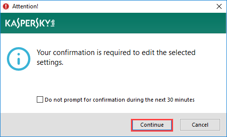 Image: Attention dialog box in Kaspersky Internet Security 2018