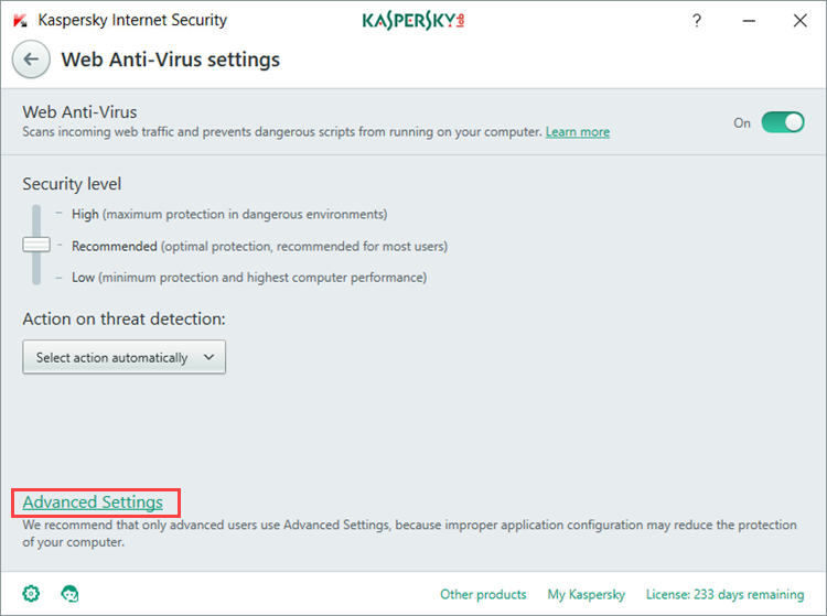 Image:  Web Anti-Virus settings in Kaspersky Internet Security 2018