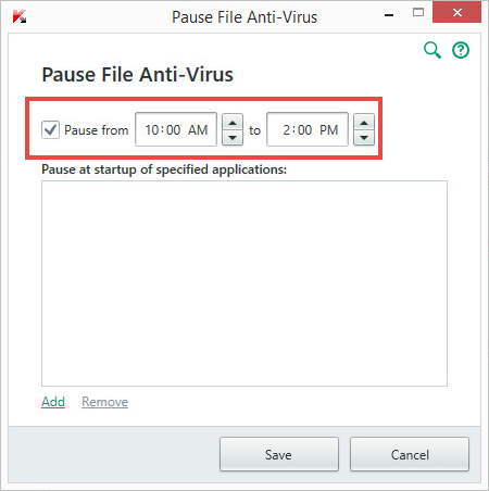Image: pausing File Anti-Virus in Kaspersky Internet Security