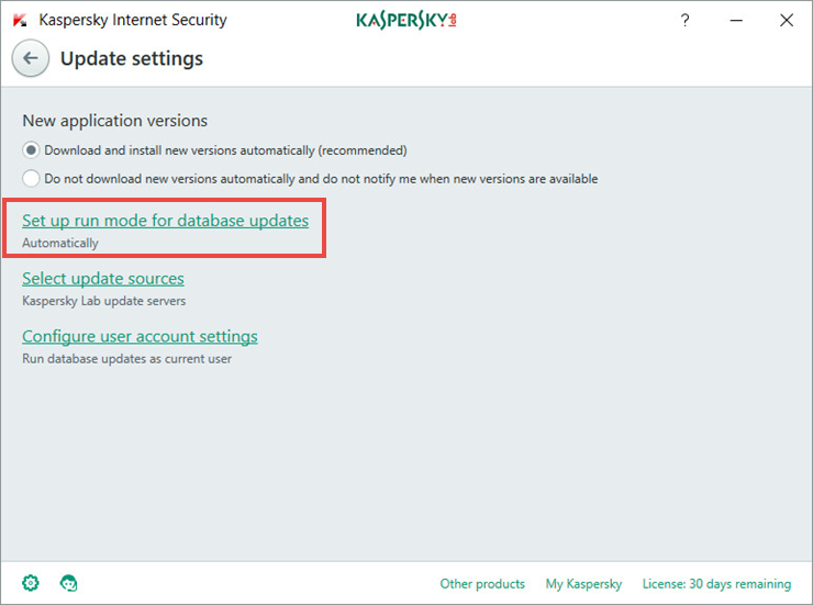 Image: the Update settings window in Kaspersky Internet Security 2018