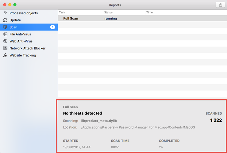 Image: the scan report window of Kaspersky Internet Security 18 for Mac