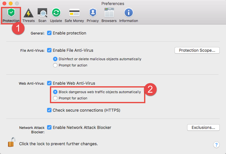 Image: Kaspersky Internet Security 18 for Mac Preferences window