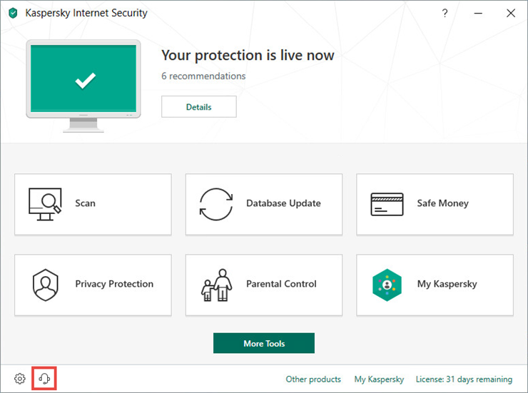 Opening the Support window of Kaspersky Internet Security 19