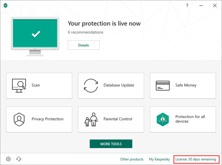 Opening the Licensing window of Kaspersky Internet Security 19