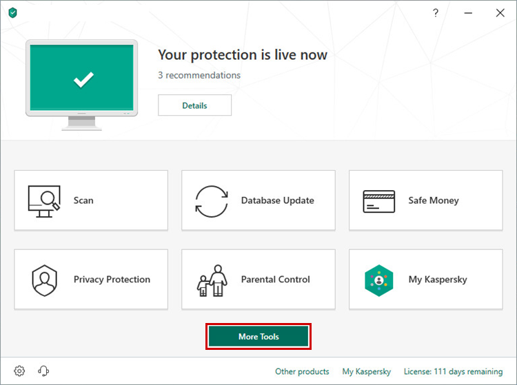 Opening More Tools in Kaspersky Internet Security 19