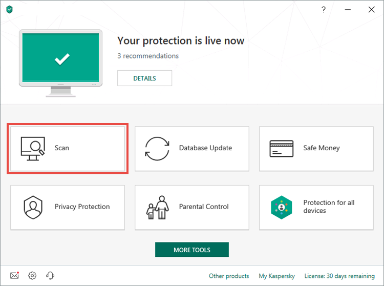 Opening the Scan section in Kaspersky Internet Security 19