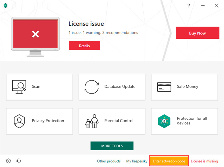 Activation window of Kaspersky Internet Security 19