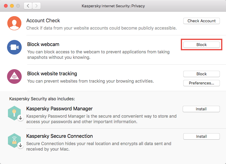 Blocking access to the video stream of web camera using Kaspersky Internet Security 19 for Mac
