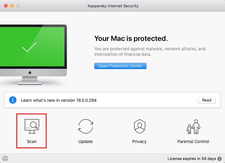 Opening a scan window in Kaspersky Internet Security 19 for Mac