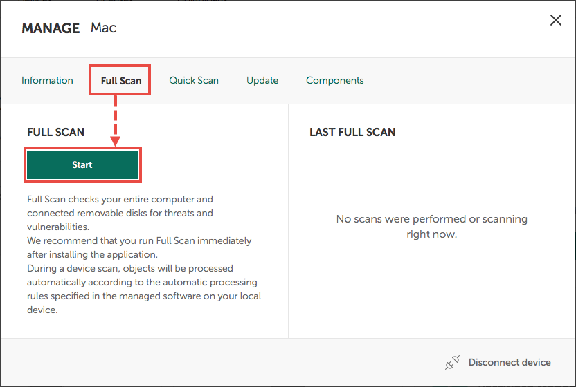 Running a Full Scan through My Kaspersky