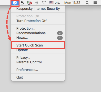 Starting a quick scan in Kaspersky Internet Security 19 for Mac