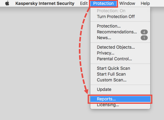 Opening the Reports window in Kaspersky Internet Security for Mac