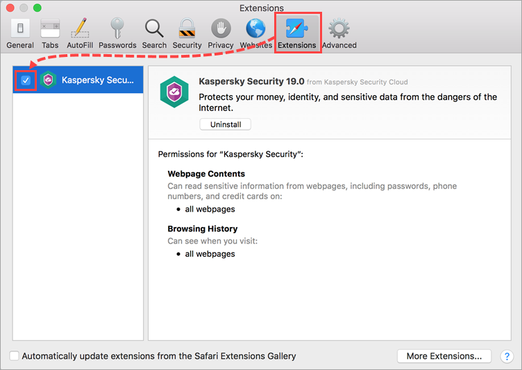 Enabling the Kaspersky Security 19 extension in Safari