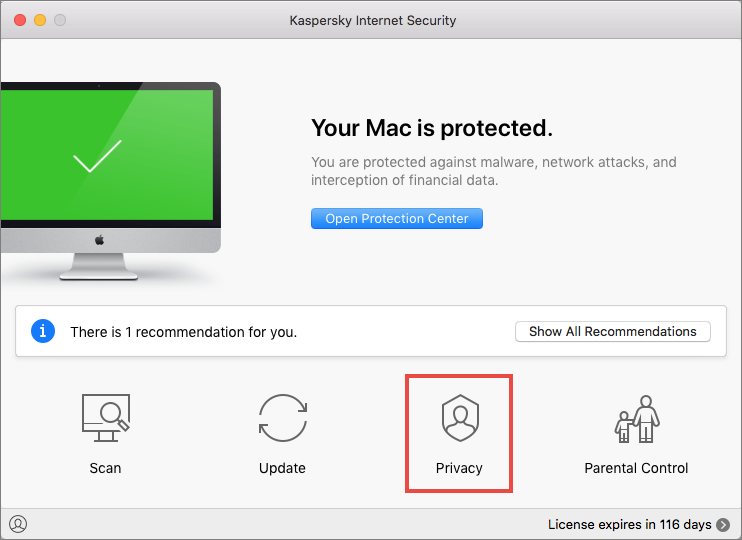 Privacy preferences in Kaspersky Internet Security 19 for Mac
