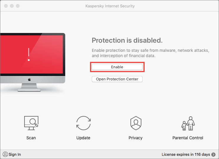 The main window of Kaspersky Internet Security 19 for Mac